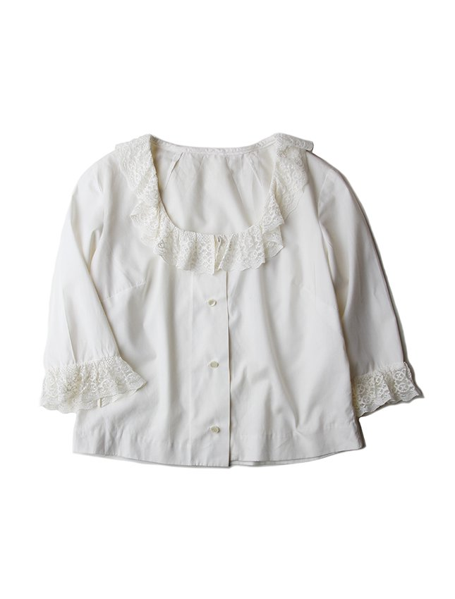 60-70s FRILL ROMANTIC BLOUSE ABOUT SI...