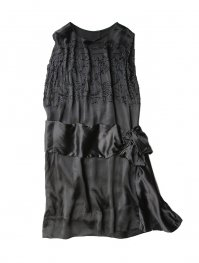 20s ANTIQUE BLACK SILK BEADED DRESS