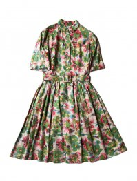 1950-60's FLOUR PRINTED DRESS