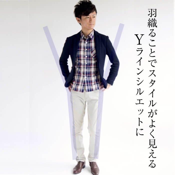素材感で魅せるテーラードジャケット(XSサイズ・ネイビー)のサイズ感
