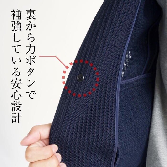 素材感で魅せるテーラードジャケット(XSサイズ・ネイビー)のボタン