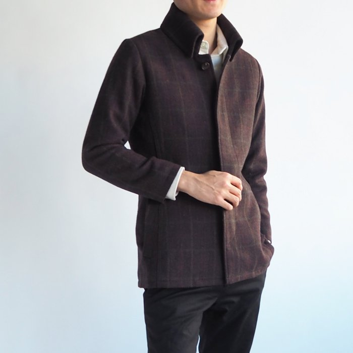イタリアントラッドな返し襟コート(XXSサイズ・ブラウン) 小さいサイズ メンズ