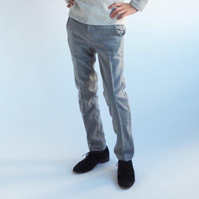 シルエットのキレイなフラノストレッチスラックス(XSサイズ・グレー) 小さいサイズ メンズ