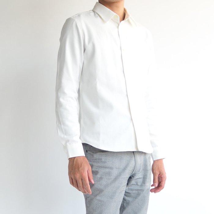女性に好印象な爽やかさと清潔感 ベーシックオックスシャツ(ホワイト・XSサイズ)