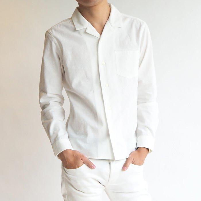 程よい抜け感でワンランク上のオシャレができる!オープンカラーコットンシャツ(ホワイト・XSサイズ)