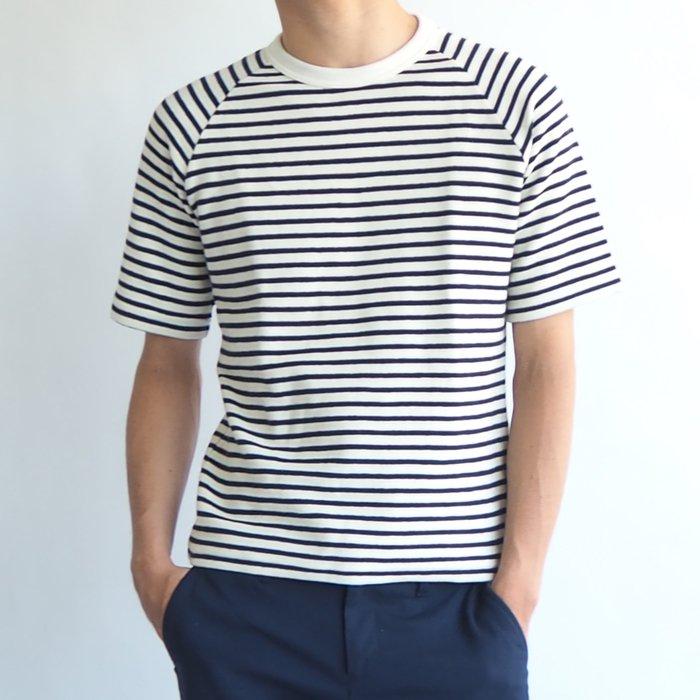 半袖一枚でスタイルよく着こなせる!半袖ラグランクルーネックボーダーカットソー(ホワイト/ネイビー・XSサイズ)