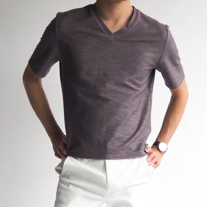 一枚でスタイルよくキマる!杢(もく)柄半袖Vネックカットソー(ブラウン・XSサイズ) 小さいサイズ メンズ