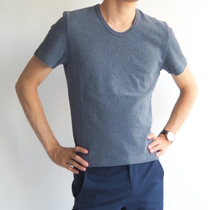 小柄体型が目立たず、体が大きく見える!タイト目クルーネック半袖カットソー(ネイビー・XSサイズ) 小さいサイズ メンズ