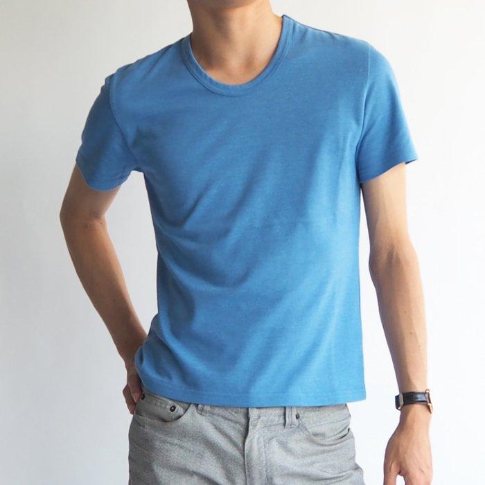 小柄体型にフィットする!半袖Uネックカットソー(ブルー・XSサイズ) 小さいサイズ メンズ