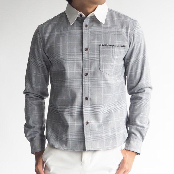 グレーンチェッククレリックシャツ(グレー・XS)