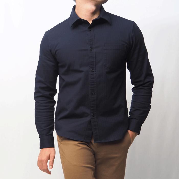 コットンシャツ(ネイビー・XS)