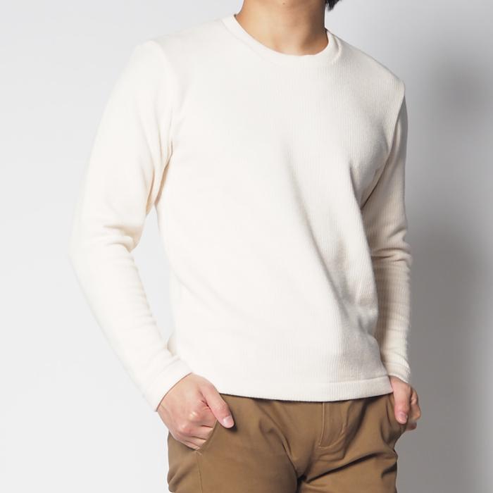 クルーネックセーター(オフホワイト/ブルー・XS)