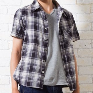 【ラスト1着】スリムフィットな半袖スラブチェックシャツ(グレー)XSサイズ