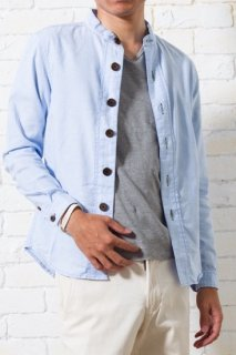【残り2点!】スタンドカラーシャツ(サックスブルー・XSサイズ)