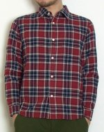 【完売】ヘリンボーンチェックシャツ(レッド・XSサイズ)