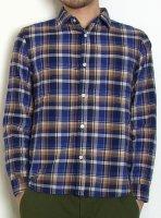【完売】ヘリンボーンチェックシャツ(ブルー・XSサイズ)