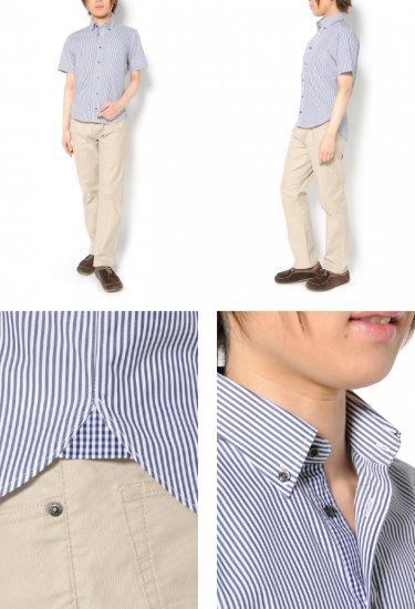 爽やかなストライプ柄の生地を使用した半袖ボタンダウンシャツです。メンズXSの中でもかなり細身の方向け。
