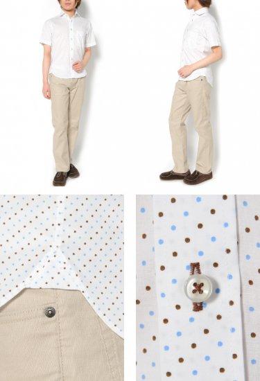 2色づかいのドット柄がさわやかな印象のメンズXS半袖シャツ。カジュアルな中にも上品さを感じさせるホリゾンタルカラーです。