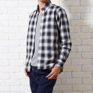 【完売】ベーシックなチェックボタンダウンシャツ(ブラック) XSサイズ