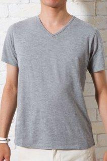 カノコVネックTシャツ(半袖 杢グレー・XSサイズ)