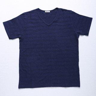 【ラスト1着】ジャカード織VネックTシャツ(半袖 ネイビー・XSサイズ)