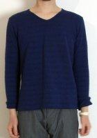 【完売】ジャカード織VネックTシャツ(長袖 ネイビー) XSサイズ