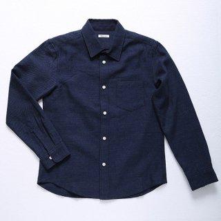 【ラスト1着】ウールコットンシャツ (ネイビー) XSサイズ