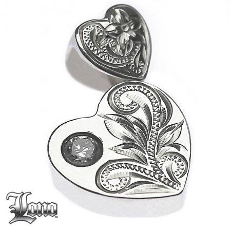 Silver925ハワイアンジュエリーLONO Double Heart with CZ(ロノ ジルコニア付きダブルハート)ペンダントヘ…