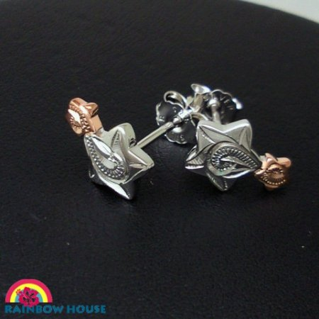 Silver925ハワイアンジュエリー 2tone2連の星(径7mm-3mm)スタッドピアス
