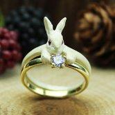 DECOvienya(デコヴィーニャ) ウサギの宝物リング[ホワイト](アクセサリー)