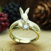 DECOvienya ウサギの宝物リング(ホワイト)