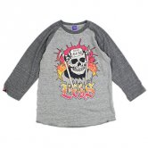 EVIS / ROTTEN−SKULL Base-ball Tee [Hether/Charcoal]