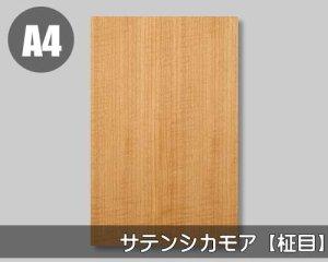 【サテンシカモア柾目】A4サイズ(和紙貼り/糊なし)天然木のツキ板シート「ノーマルタイプ」