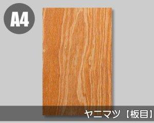 【国産ヤニマツ板目】A4サイズ(和紙貼り/糊なし)天然木のツキ板シート「ノーマルタイプ」
