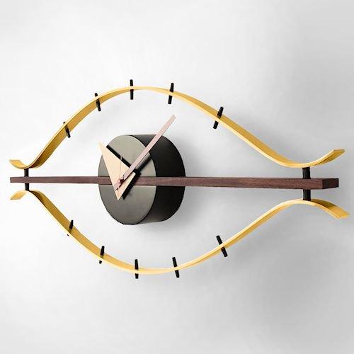 ジョージ・ネルソン/EyeClockアイクロックウォールナット無垢材メイン画像-デザイナーズ家具通販N PLUS