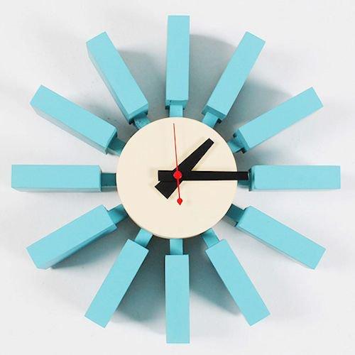 ジョージ・ネルソン/BlockClockブロッククロック【アッシュ材ブルー】メイン画像-デザイナーズ家具通販N PLUS