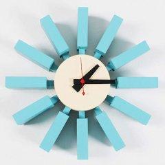 ジョージ・ネルソン/BlockClockブロッククロック【アッシュ材ブルー】-デザイナーズ家具通販N PLUS