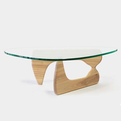 イサム・ノグチ/コーヒーテーブル19mm強化ガラス×アッシュ材木目有りメイン画像-デザイナーズ家具通販N PLUS