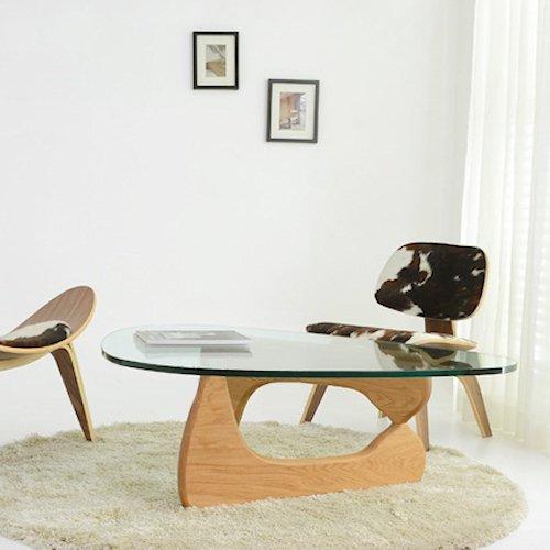 イサム・ノグチ/コーヒーテーブル19mm強化ガラス×アッシュ材木目有り詳細画像1