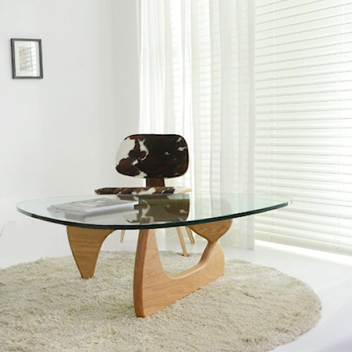 イサム・ノグチ/コーヒーテーブル19mm強化ガラス×アッシュ材木目有り詳細画像2