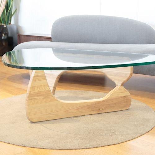 イサム・ノグチ/コーヒーテーブル19mm強化ガラス×アッシュ材木目有り詳細画像5