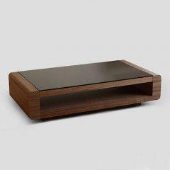 ラグジュアリーブラックガラステーブルNo.673【W130ウォールナット】