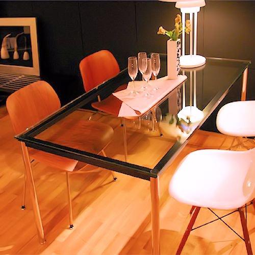 ル・コルビジェ/LC10ダイニングテーブル【W140×D80】15mm厚強化ガラス詳細画像1