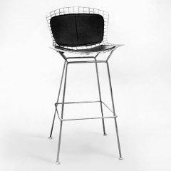 ハリー・ベルトイア/ワイヤースツールハイタイプ【ステンレスSH74cm×ダブルパッド】-デザイナーズ家具通販N PLUS