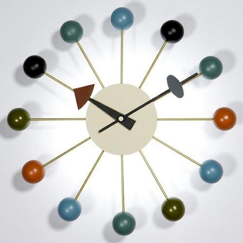 ジョージ・ネルソン/BallClockボールクロック【マルチカラーアッシュ材×真鍮】メイン画像-デザイナーズ家具通販N PLUS