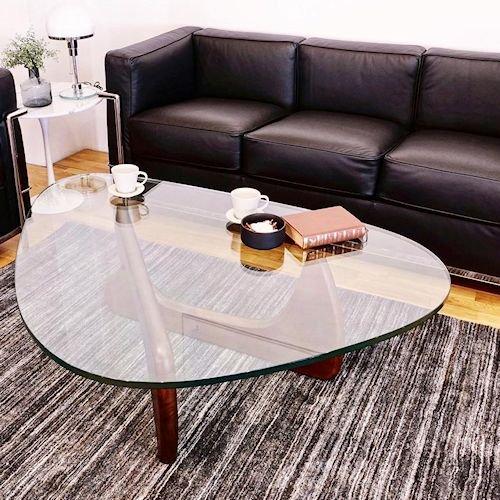 イサム・ノグチ/コーヒーテーブル19mm強化ガラス×ウォールナット無垢材詳細画像1