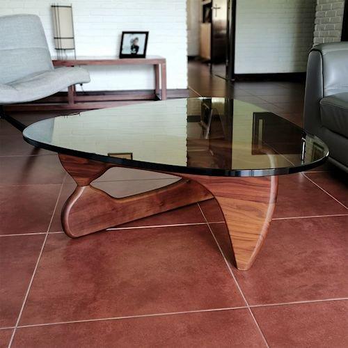 イサム・ノグチ/コーヒーテーブル19mm強化ガラス×ウォールナット無垢材詳細画像2