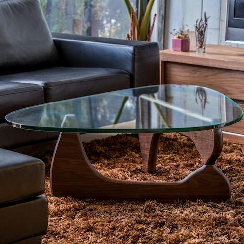 イサム・ノグチ/コーヒーテーブル19mm強化ガラス×ウォールナット無垢材詳細画像4