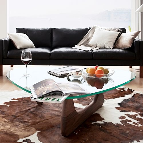 イサム・ノグチ/コーヒーテーブル19mm強化ガラス×ウォールナット無垢材詳細画像5