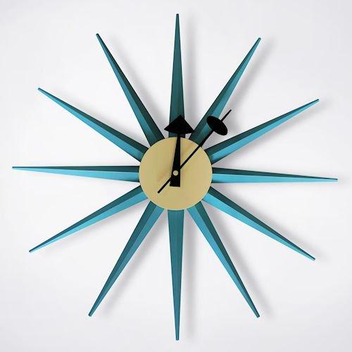 ジョージ・ネルソン/SunburstClockサンバーストクロック【追加色ブルー】メイン画像-デザイナーズ家具通販N PLUS